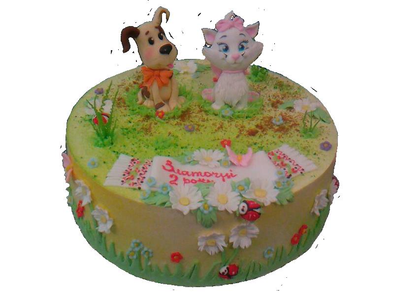 Торт на два роки з собакою та кішкою