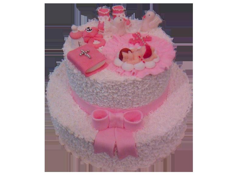 Торт на хрестини рожевий