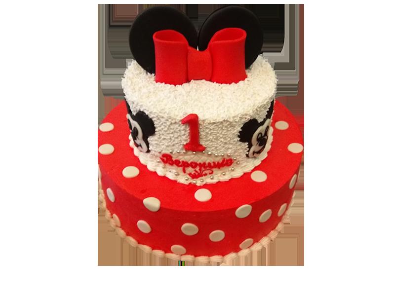Торт на 1 рік червона Міккі