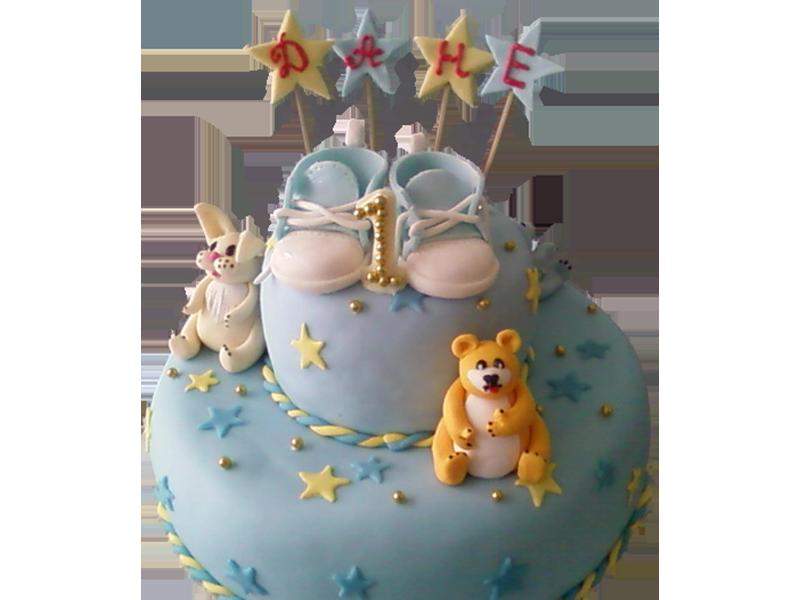 Торт на 1 рік з мішкою та зайцем