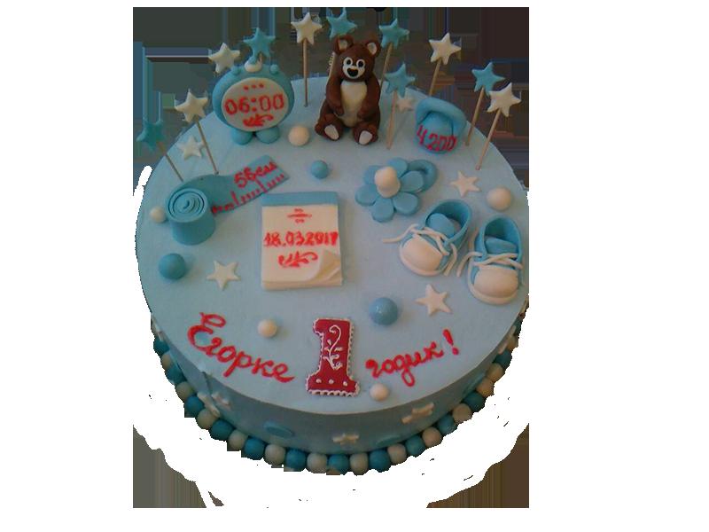 Торт на один рік з мішкою