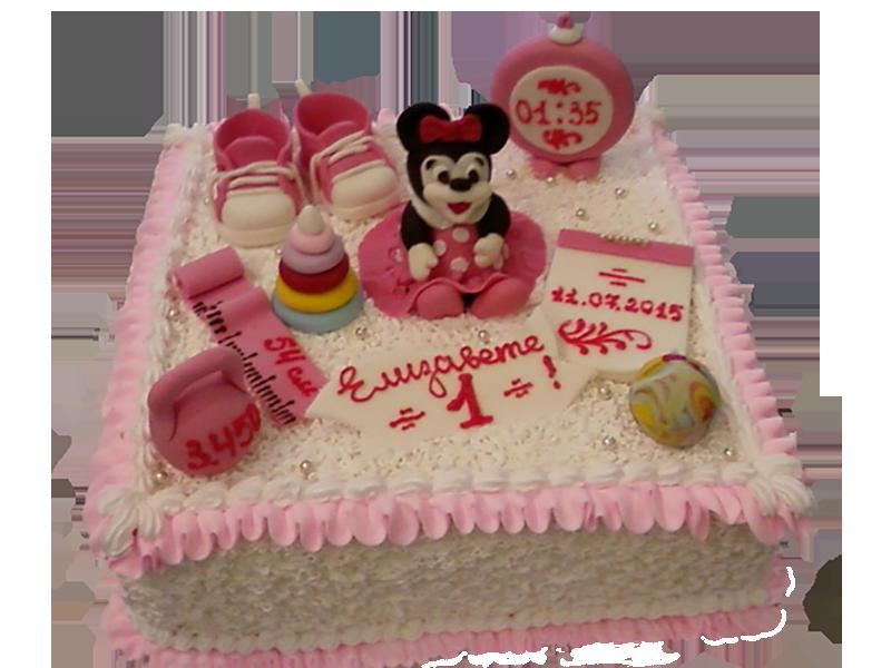 Торт на 1 рік з рожевою Міккі