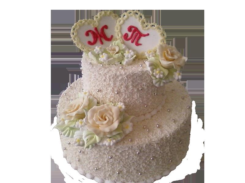 Торт серця та квіти