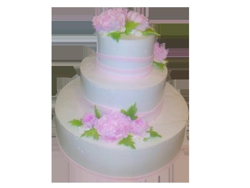 Торт три яруси з квітами та смужками