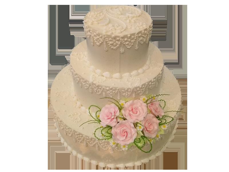 Торт три яруси з квітами знизу