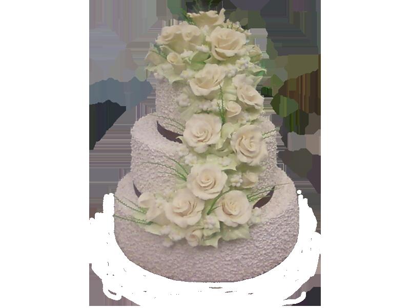 Торт три яруси з квітами