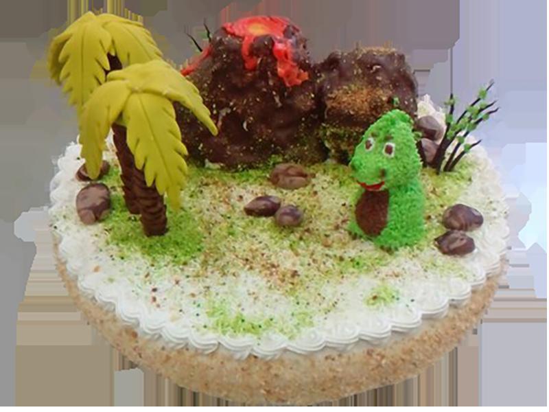 Торт вулкан з динозавром
