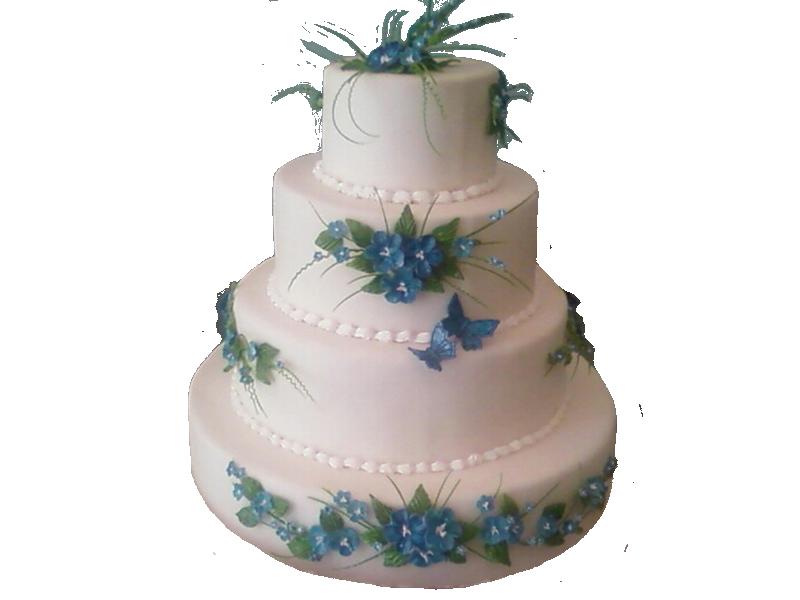 Торт з блакитними квітами