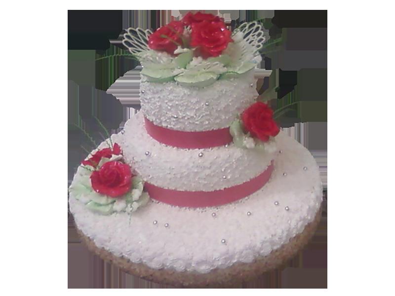 Торт з червоними квітами