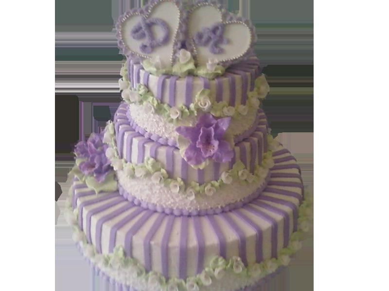 Торт з фіолетовими серцями