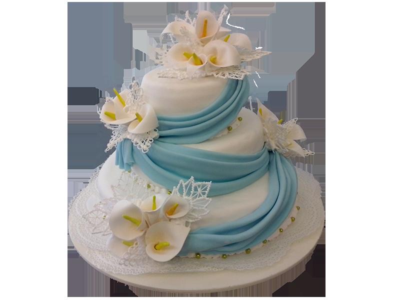 Торт з квітами та стрічкою