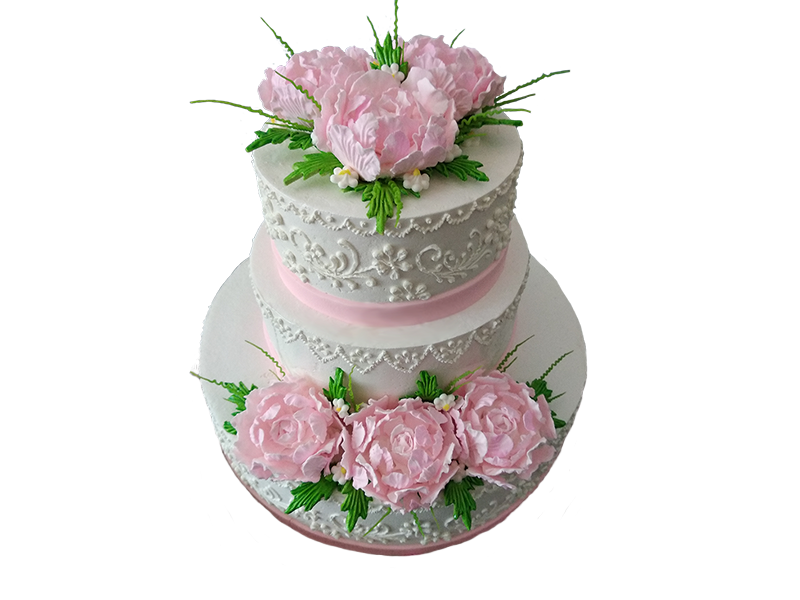 Торт з рожевими квітами
